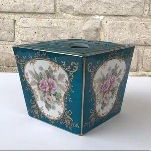 Other - Vintage Porcelain Vanity Box Brush Holder Floral